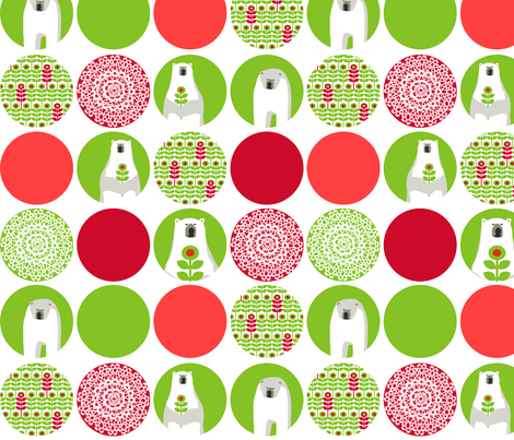 Brr Bear Dots Large Green Red fabric by lauriewisbrun on Spoonflower - custom fabric