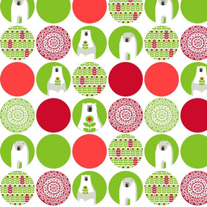 Brr Bear Dots Large Green Red