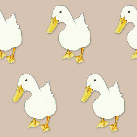 Duck Kiss on beige brown fabric by floating_lemons on Spoonflower - custom fabric