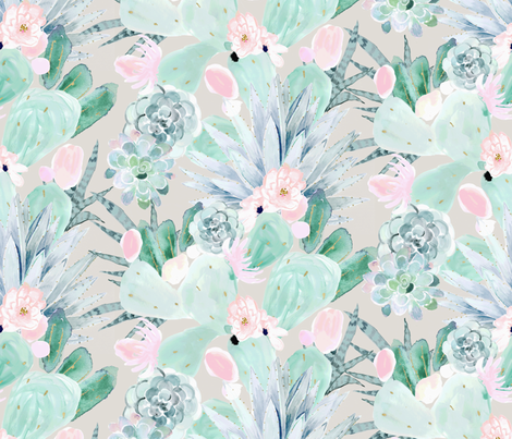 pretty pastel cactus + succulents fabric by crystal_walen on Spoonflower - custom fabric