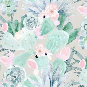 pretty pastel cactus + succulents