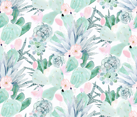pastel cactus floral - white fabric by crystal_walen on Spoonflower - custom fabric