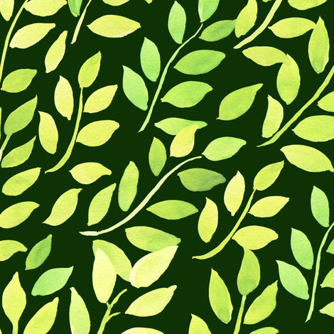 Watercolor tree Branches on green big scale fabric by magic_pencil on Spoonflower - custom fabric