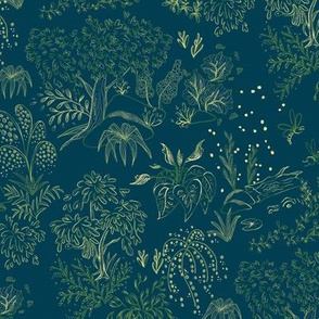 Pond Toile Cream and Green