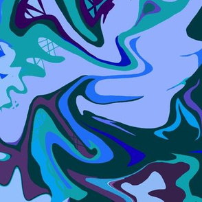 BN8 - Abstract Marbled Mystery  in Blues - Lavender - Teal - Purple  - Large Scale