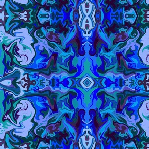 BN8 -  Abstract Marbled Tapestry in  Blues - Lavender - Purple - Teal - Large