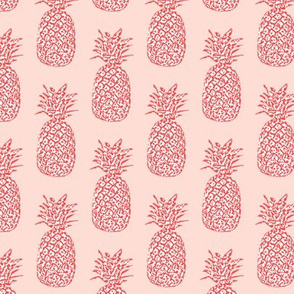 Red & White Pineapples on Pink
