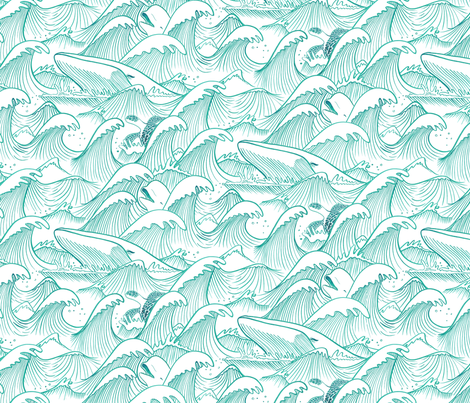 Turbulent Oceans Turquoise fabric by indiepixels on Spoonflower - custom fabric