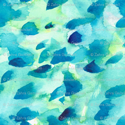 Mini Print watercolour green, blue and teal abstract spots
