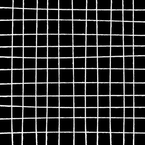 Hand Drawn Marker Grid Black fabric by midnightstudio on Spoonflower - custom fabric