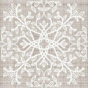 Botanical Branch motif, Beige Linen