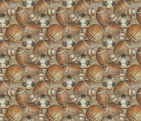 Be the Ball Sports - Baseball, Football, Soccer and Basketball fabric by aaron_christensen on Spoonflower - custom fabric