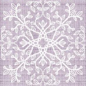 Botanical Branch Motif, Violet Linen
