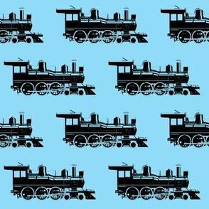 Steam Engine on Blue // Large