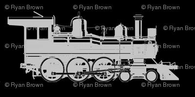 Grey Steam Engine on Black // Large