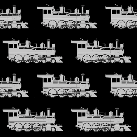 Grey Steam Engine on Black // Large fabric by thinlinetextiles on Spoonflower - custom fabric