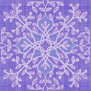 Botanical Branch Motif, Purple Linen
