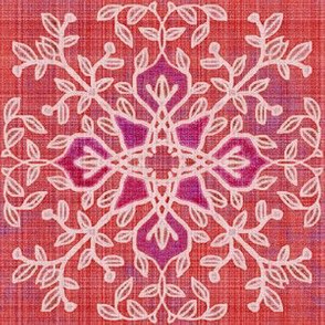 Botanical Branches Motif, Red Linen