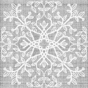 Botanical Branch Motif, Gray Linen