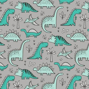 Dinosaurs on Grey Smaller