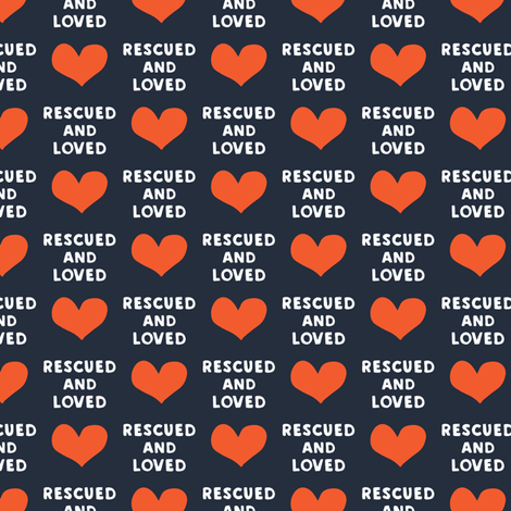 rescued and loved - blue fabric by littlearrowdesign on Spoonflower - custom fabric