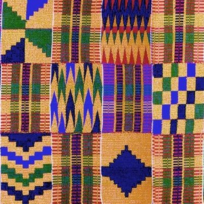 Kente Cloth // Anzac Yellow & Persian Blue // Large