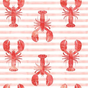 lobsters on stripes (pink & red)