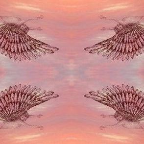 Winged cherub  terracotta on sunset cloud