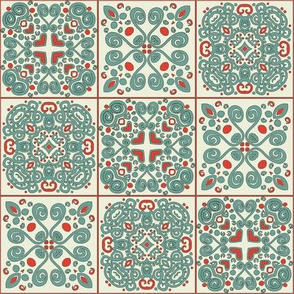 Spanish Tile in red and aqua