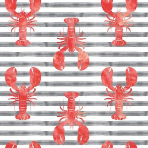 lobsters on stripes (red & grey)