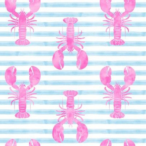lobsters on stripes (pink and blue)