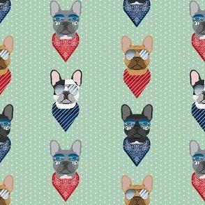 frenchie sunglasses french bulldog summer bandana dog fabric mint