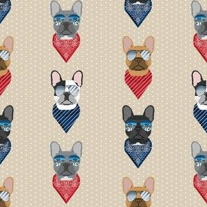 frenchie sunglasses french bulldog summer bandana dog fabric tan