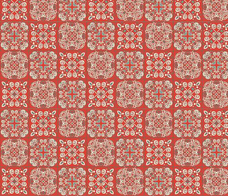 Spanish Tile Retro Red fabric by nettieandliz on Spoonflower - custom fabric