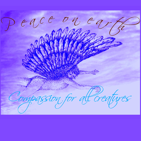 PeaceOnEarth-Winged cherub  darker violets on cloud-framed- fabric by cloudsong_art on Spoonflower - custom fabric