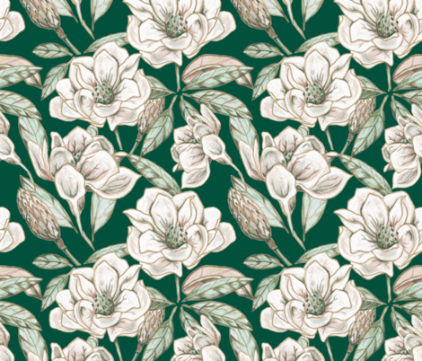 Mixed media magnolia, on green  fabric by katie_hayes on Spoonflower - custom fabric
