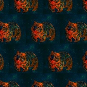The Midnight Wombat trot-OrangeOnGreen-