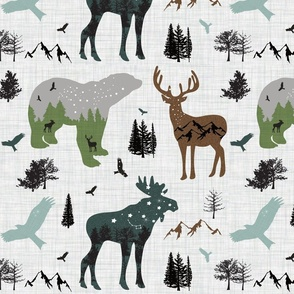 forest animals on linen
