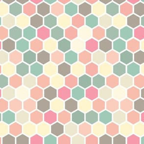 Hexagon Pastel yellow taupe blush pink peach coral tan teal green white hexagon hexie dots spots _ miss chiff Designs