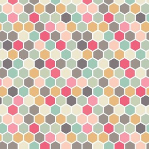 Mint Green Gray Grey Ochre Yellow Cherry Red Pink Blush Hexagon Spots Dots Tiles _ Miss Chiff Designs