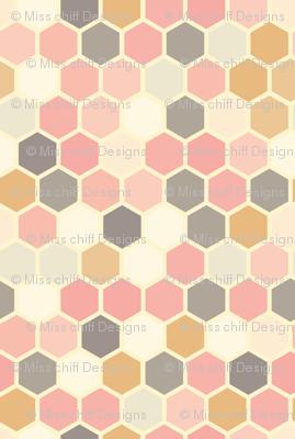 18-07Q Hexagon Blush pink rose gray mustard