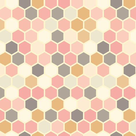 18-07Q Hexagon Blush pink rose gray mustard  fabric by misschiffdesigns on Spoonflower - custom fabric