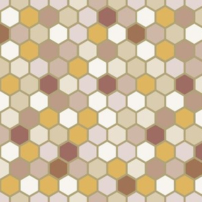 18-07P Autumn Taupe Tan Khaki Brown Mustard Ochre Yellow Hexagon Dots Spots Neutral Home Decor _ Miss Chiff Designs