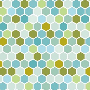 Nautical Olive Blue Mint Green Geometric Hexie Hexagon Retro Tile  Spots Dots _ Miss Chiff Designs