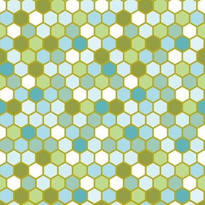 18-07L Nautical Olive Blue Mint Green Ocean WaterGeometric Hexie Hexagon Retro Tile  Spots Dots _ Miss Chiff Designs