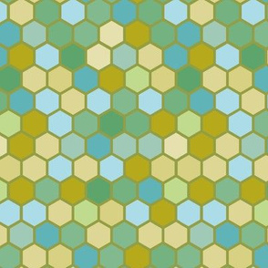 Dark Nautical Olive Blue Mint Green Ocean Water Geometric Hexie Hexagon Retro Tile  Spots Dots _ Miss Chiff Designs
