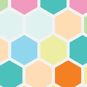 Jumbo Pastel Candy Hexagon Hexie Spots Dots Peach Yellow Teal Aqua Orange Mint Green _ Miss Chiff Designs