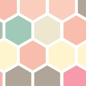 18-07G Hexagon Pastel yellow taupe blush pink peach tan white hexagon hexie dots spots _ miss chiff Designs