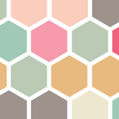 LARGE Pink Peach Blush Gray Grey Aqua Teal Green Yellow Ochre Hexie Hexagon Spots Dots Baby _ Miss Chiff Designs