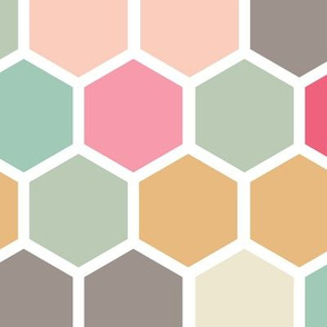 Jumbo Pink Peach Blush Gray Grey Aqua Teal Green Yellow Ochre Hexie Hexagon Spots Dots Large scale  _ Miss Chiff Designs